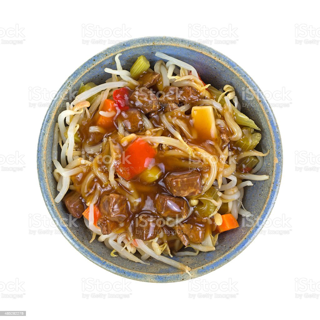 Beef noodles and vegetables in bowl stock photo