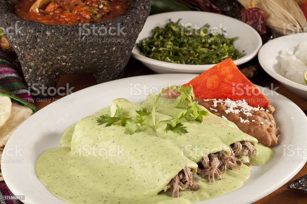 Beef or Chicken Mexican Enchiladas stock photo