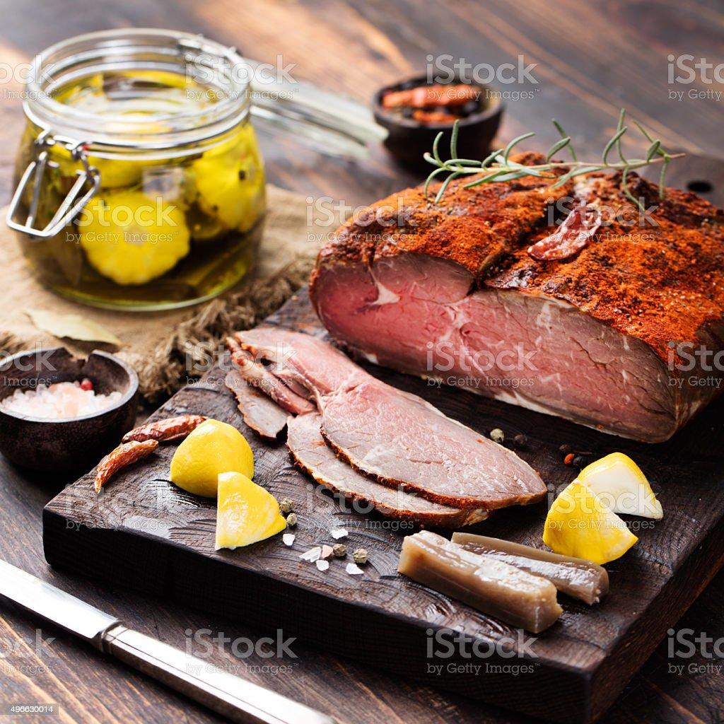 Beef pastrami sliced, roast beef  with marinated Turkish cuisine stock photo