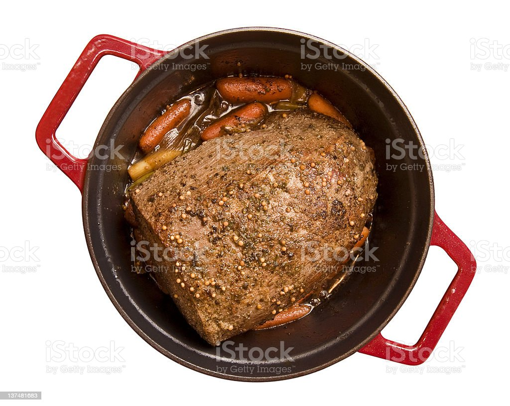 Beef pot roast isolated on white background stock photo