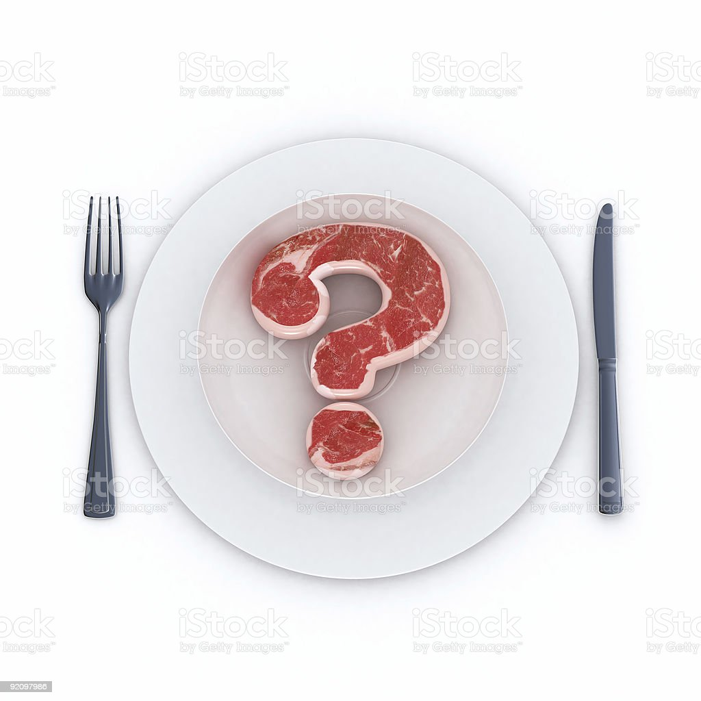 Beef question mark stock photo