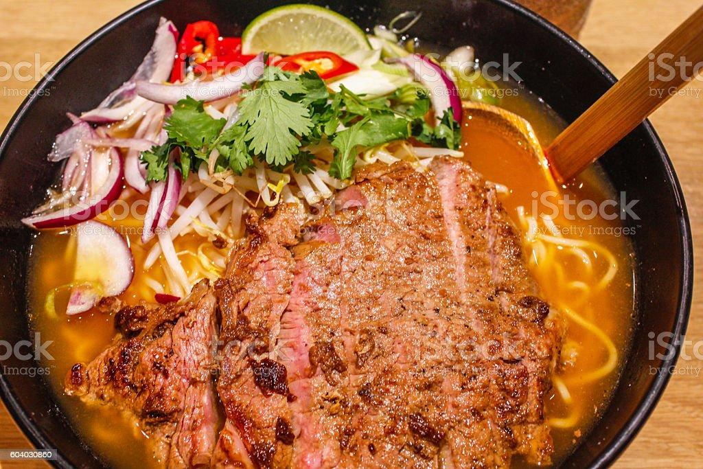 Beef ramen noodle stock photo