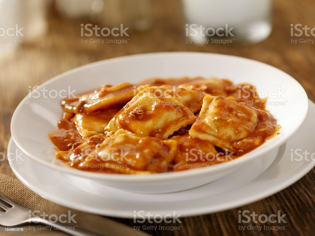 Beef Ravioli In a Tomato Meat Sauce stock photo