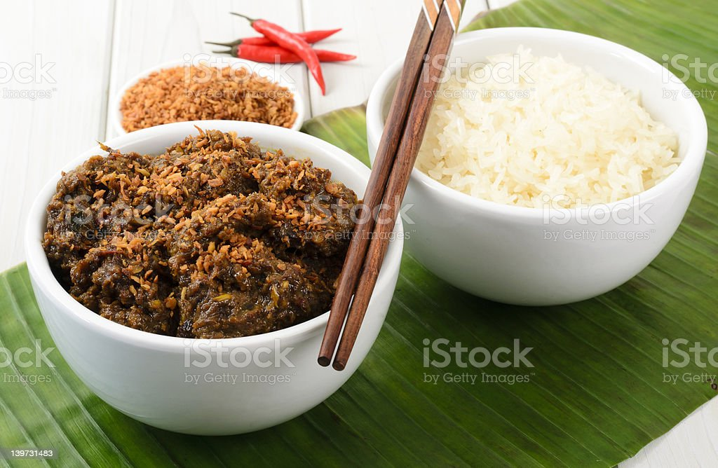 Beef Rendang & Sticky Rice stock photo