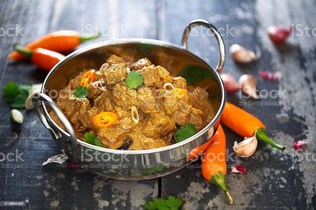 Beef rendang, indonesian food stock photo