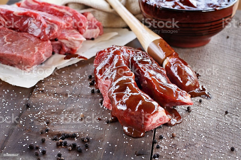 Beef Ribs and Barbecue Sauce stock photo