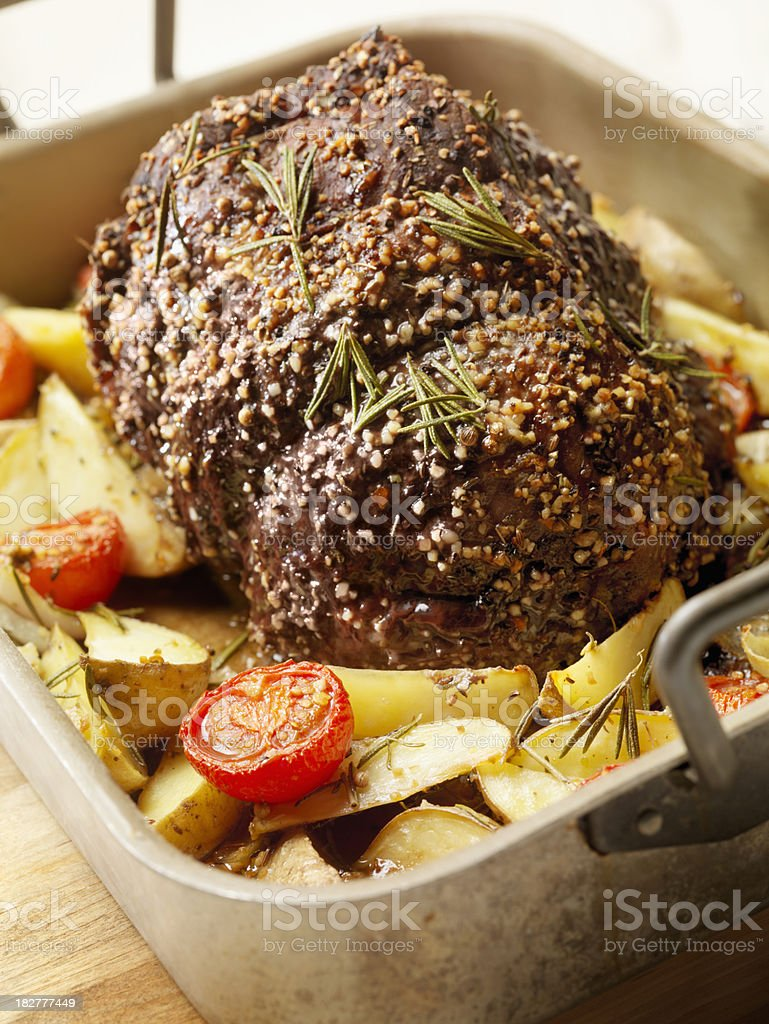 Beef Roast with Roasted Tomatoes royalty-free stock photo