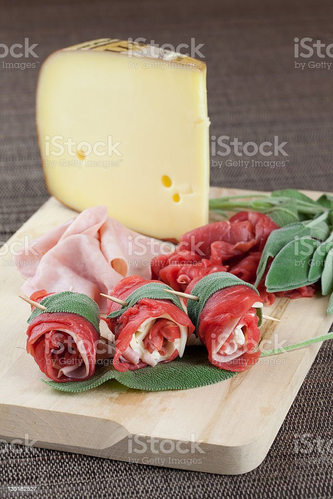 beef rolls with ham and cheese royalty-free stock photo