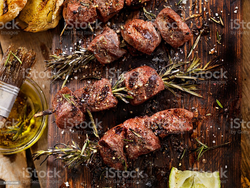 BBQ Beef Rosemary Skewers stock photo