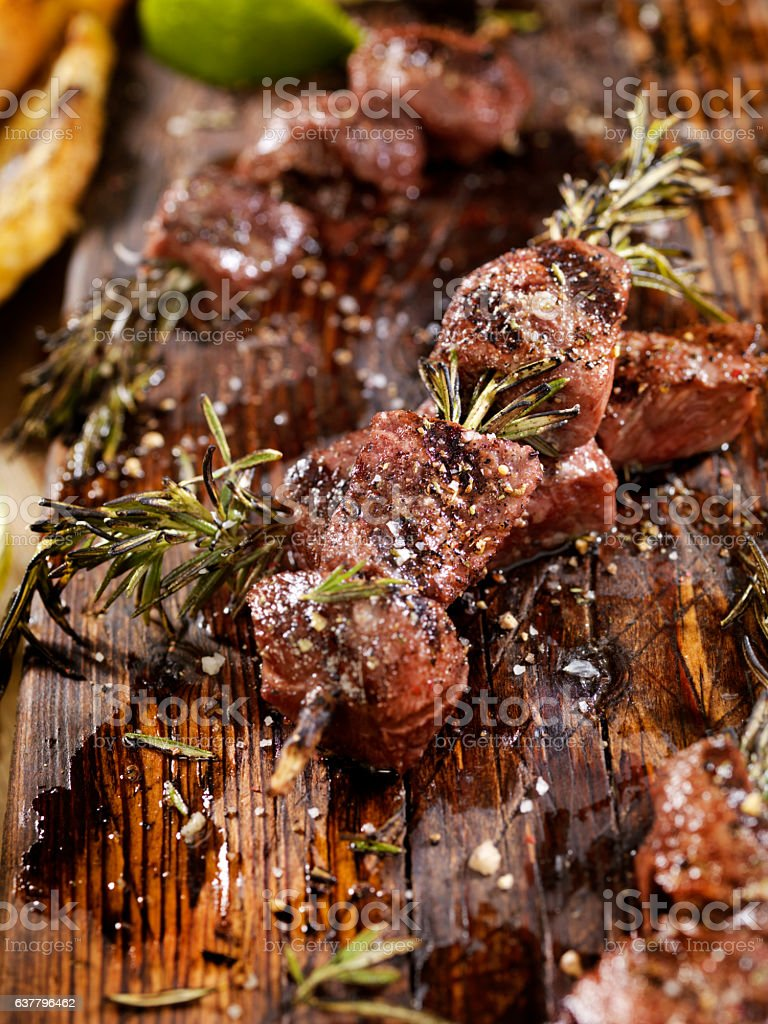 BBQ Beef Rosemary Skewers stock photo