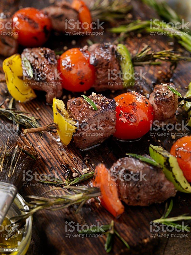 Beef, Rosemary Vegetable Skewers stock photo