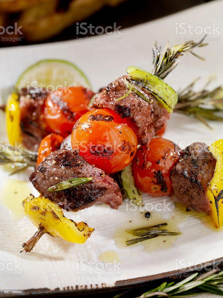 BBQ Beef, Rosemary Vegetable Skewers stock photo