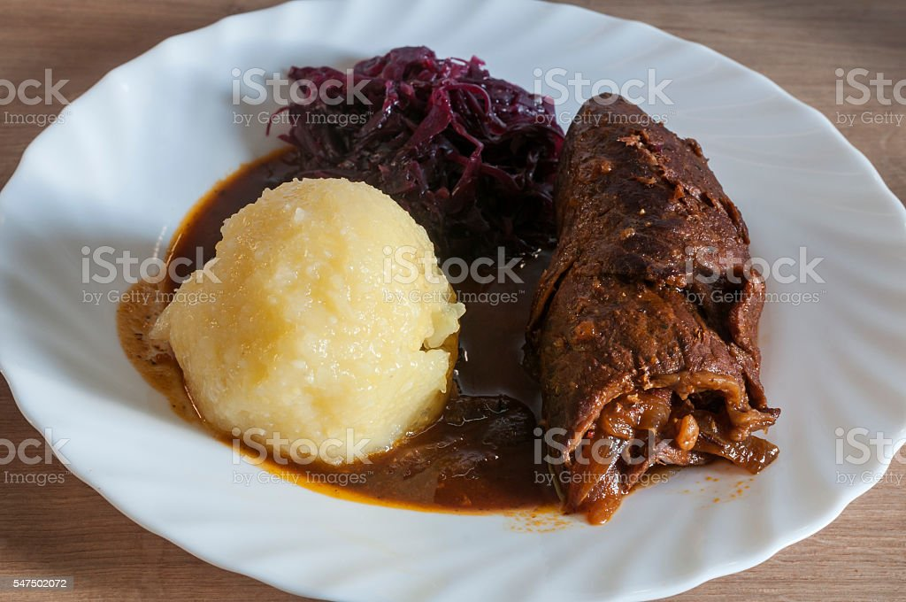Beef roulade with dumpling and red cabbage stock photo