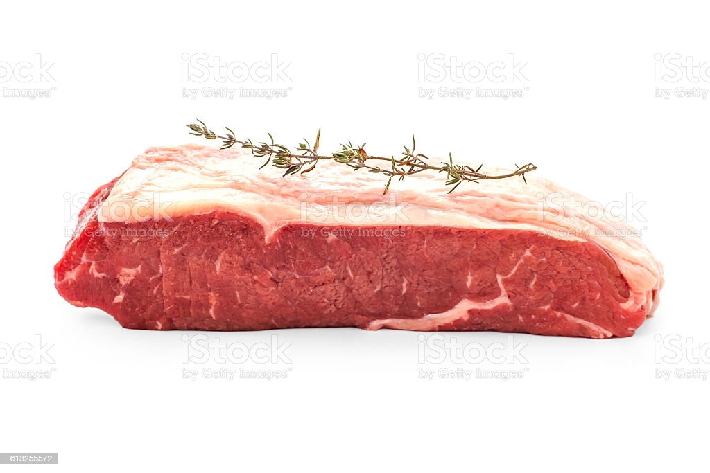Beef rumpsteak with thyme twig stock photo