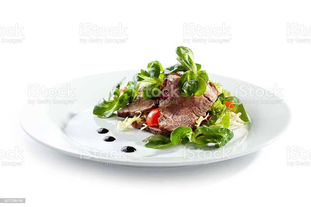Beef Salad over White stock photo