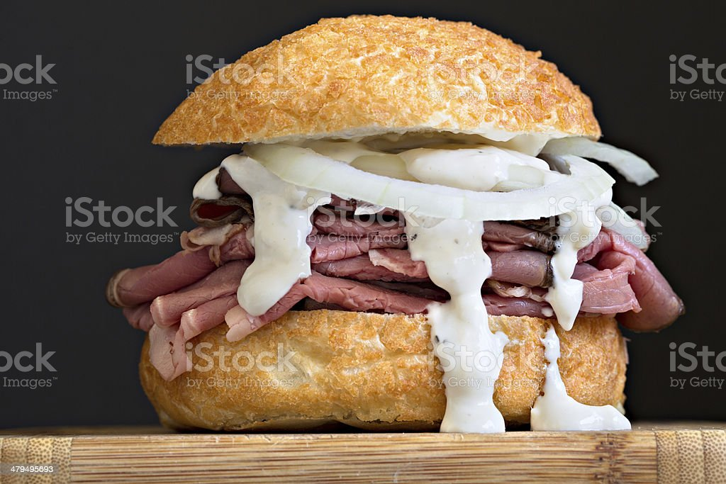 Beef Sandwich On A Kaiser Roll royalty-free stock photo