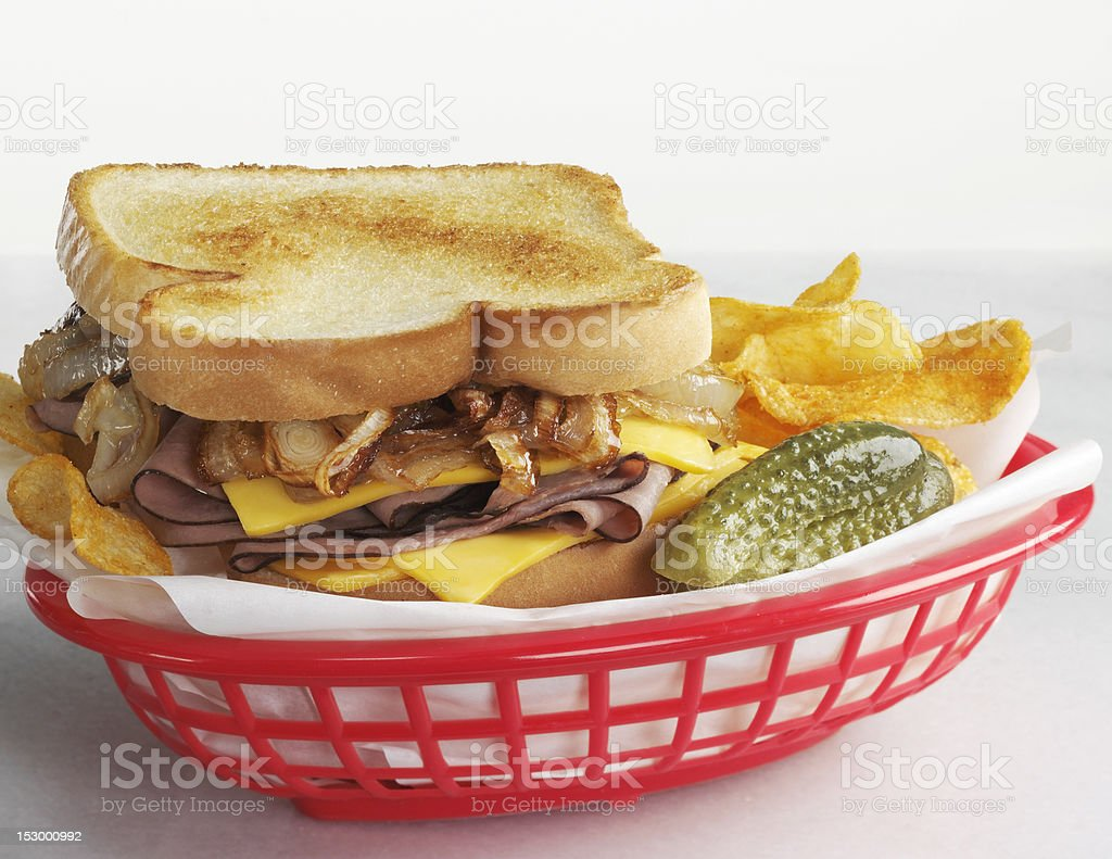 Beef sandwich with grilled onions royalty-free stock photo