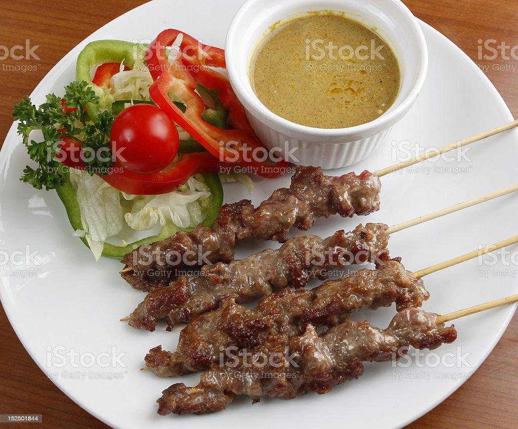 beef satay stock photo