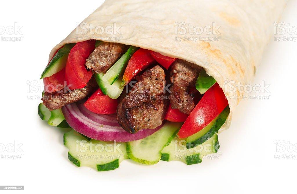 Beef shawarma isolated stock photo