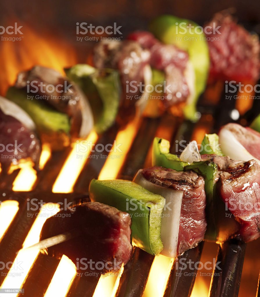 beef shishkababs on the grill stock photo