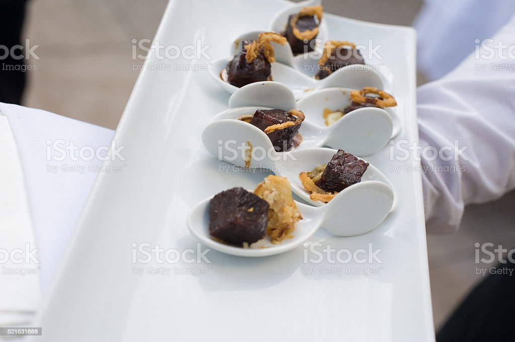 Beef Short Ribs Hors d'oeuvre at a Corporate Event stock photo