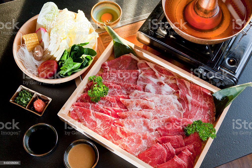 beef slice for shabu stock photo