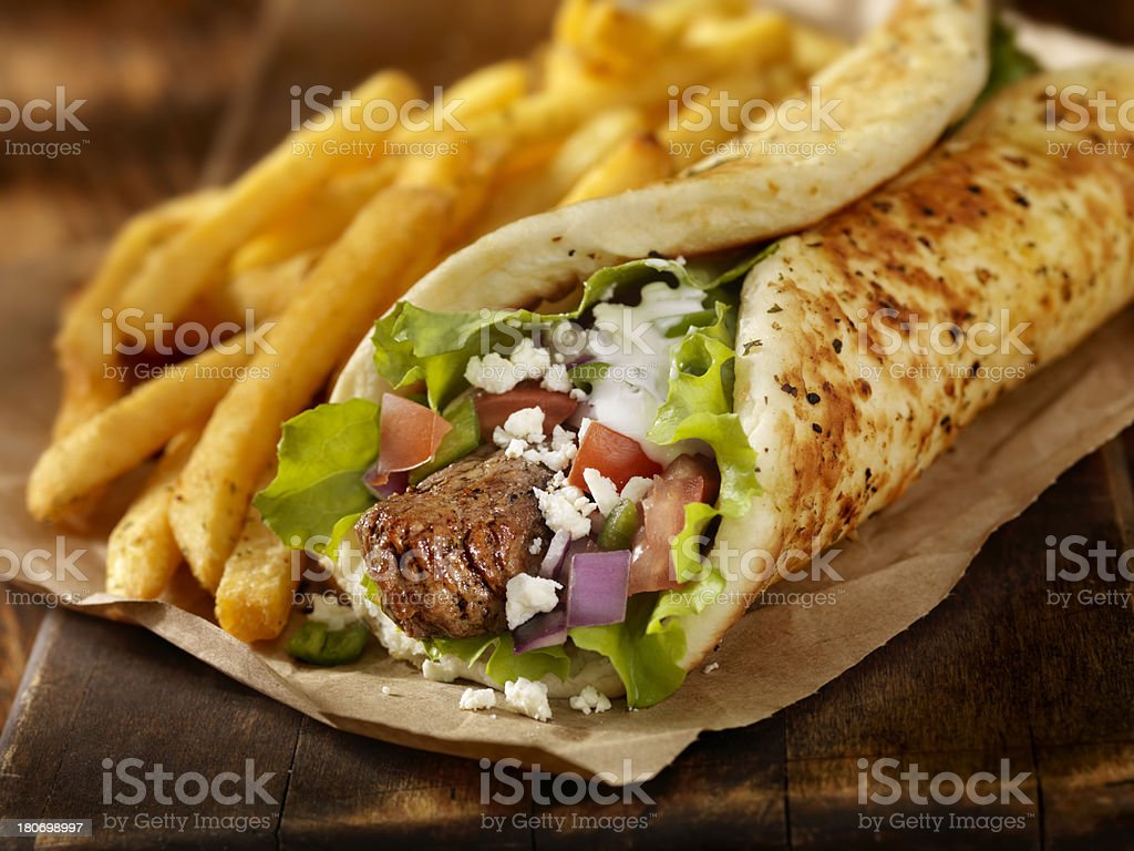 Beef Souvlaki Wrap stock photo