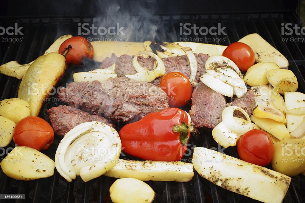 Beef Steak and Vegetable Grill Mix. stock photo