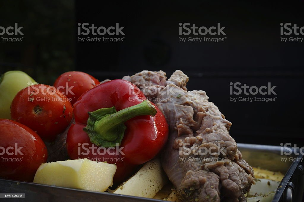 Beef Steak and Vegetable Grill Mix. royalty-free stock photo