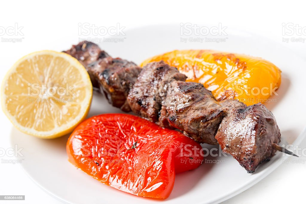Beef steak brochette stock photo