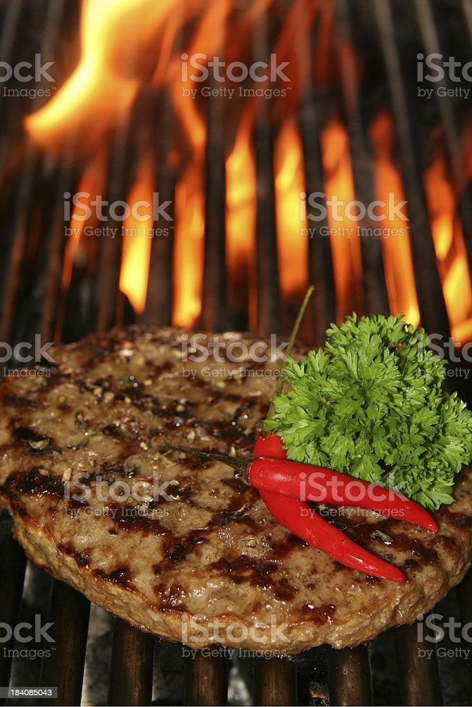 beef Steak burger and fire stock photo