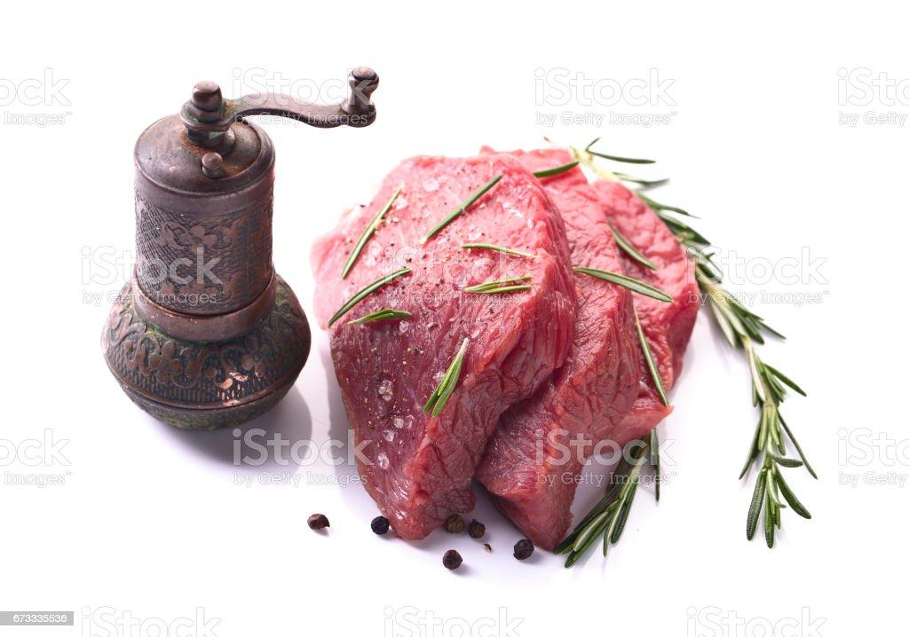Beef steak  isolated on white background. stock photo