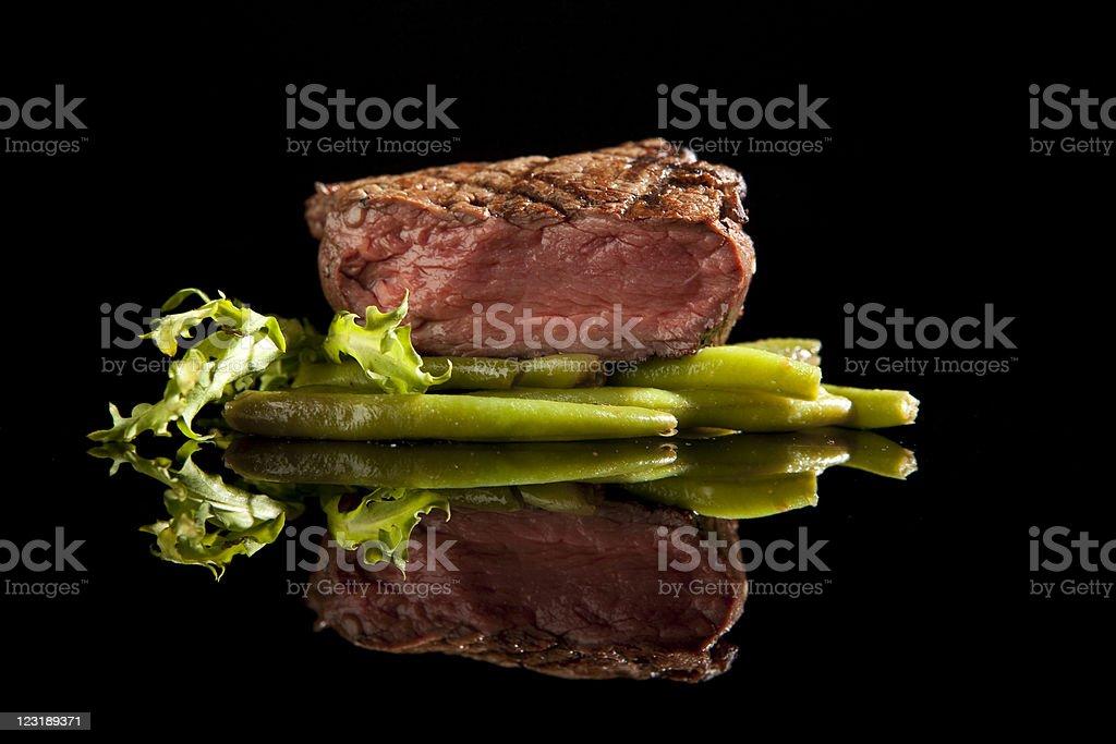beef steak medium rare on black background stock photo