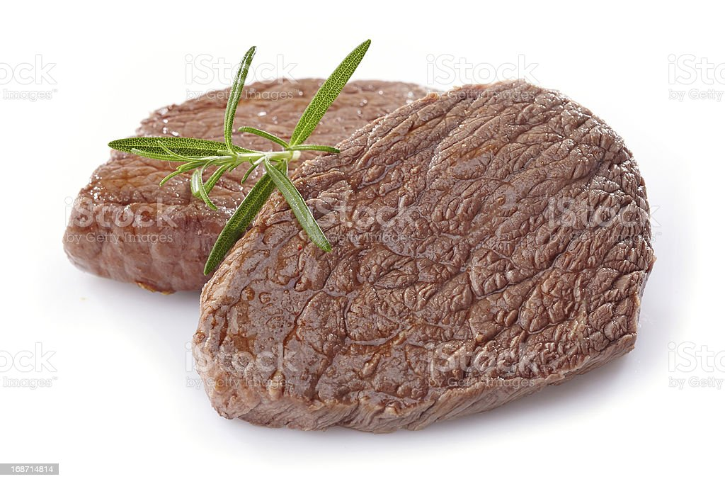 beef steak on white background royalty-free stock photo