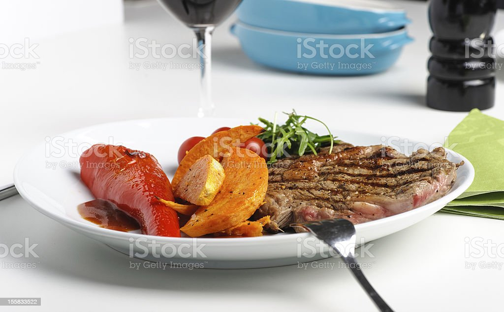 Beef steak with grill marks royalty-free stock photo