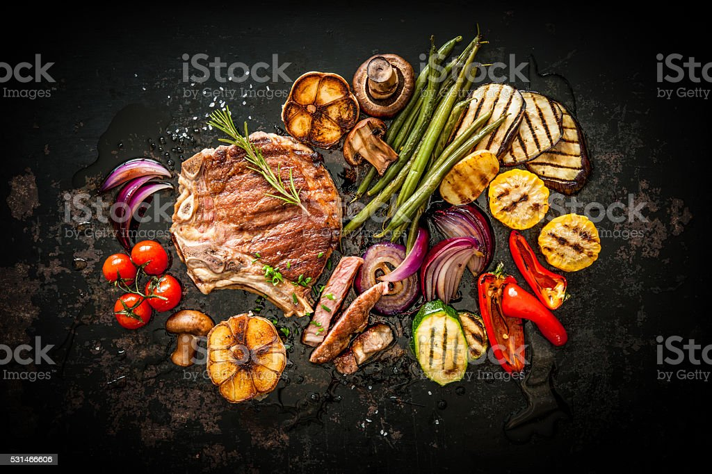 Beef steak with grilled vegetables stock photo