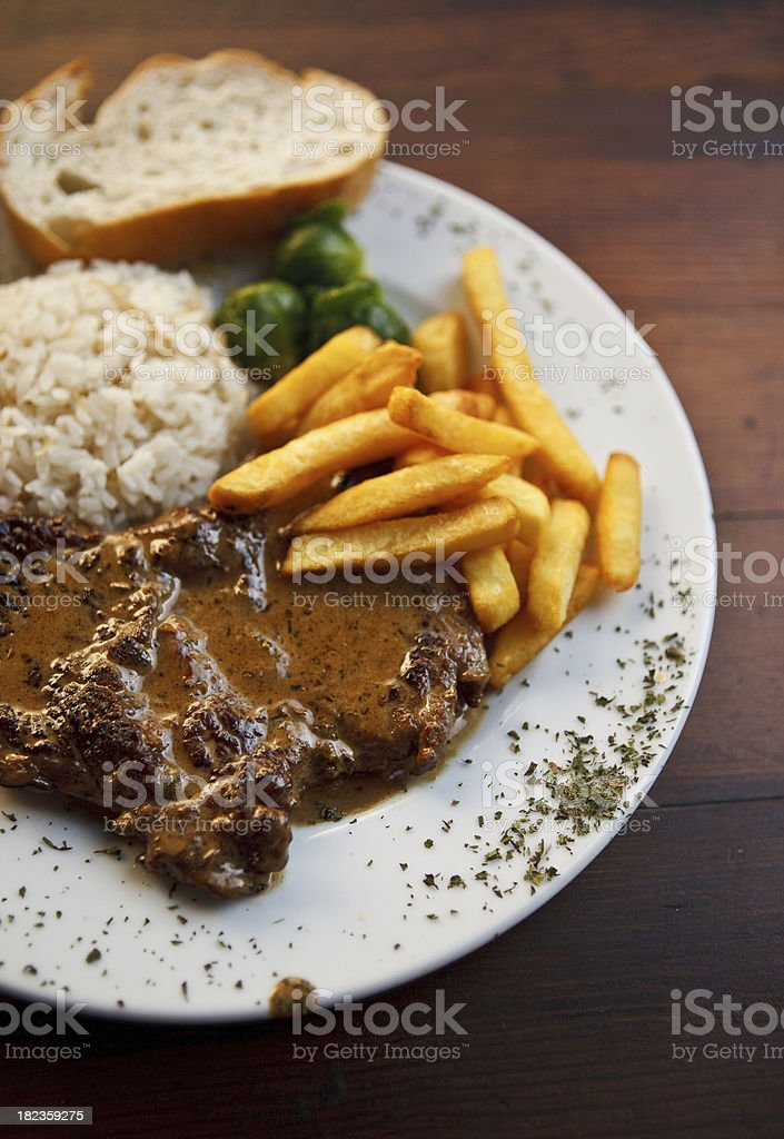 beef steak with pepper sauce stock photo
