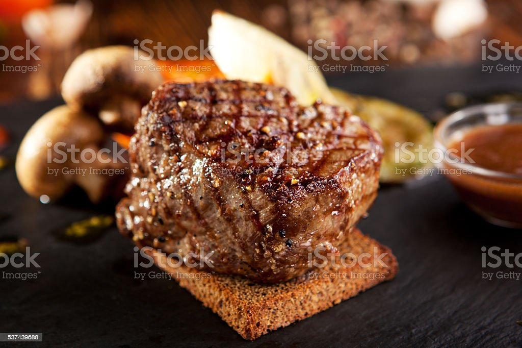 Beef Steak with Sauce stock photo
