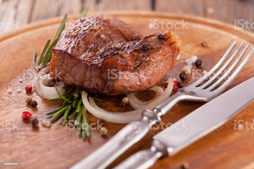 Beef steak with spices stock photo