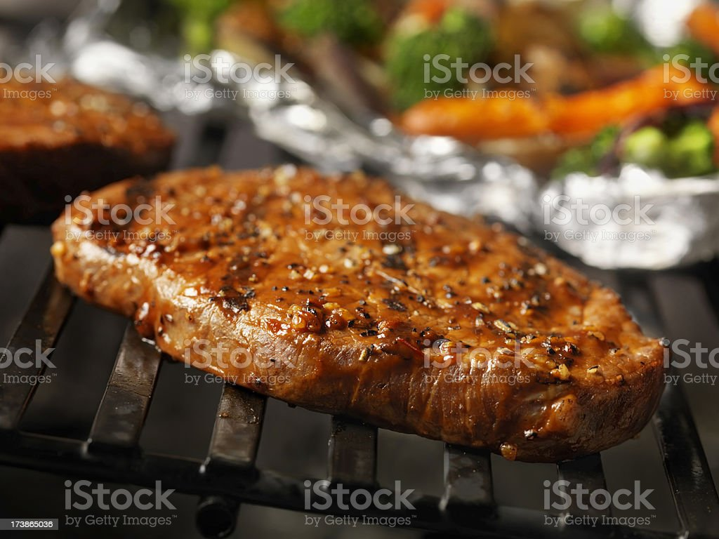 Beef Steaks on the BBQ royalty-free stock photo