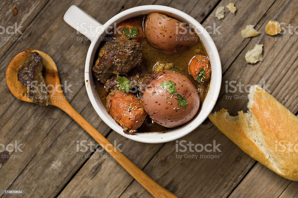 Beef Stew In A White Bowl royalty-free stock photo