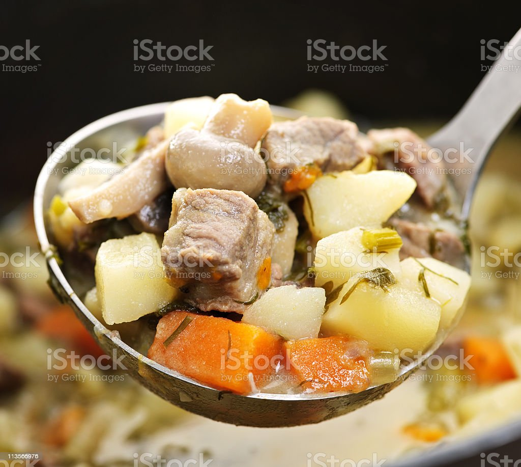 Beef stew in serving spoon royalty-free stock photo