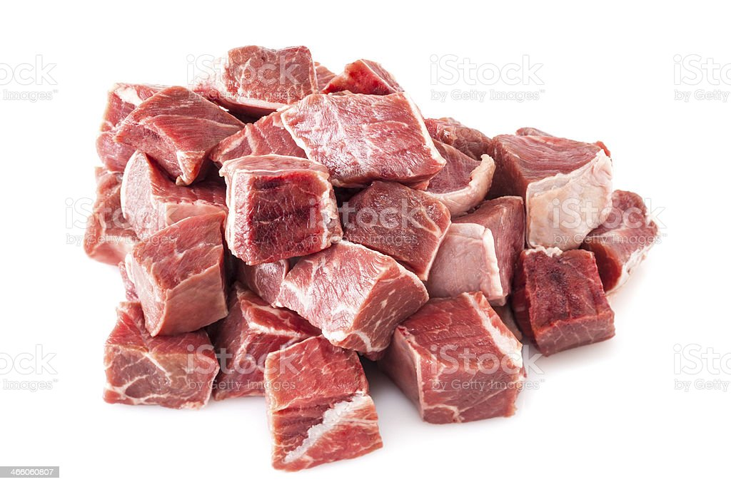 Beef Stew Meat Raw stock photo