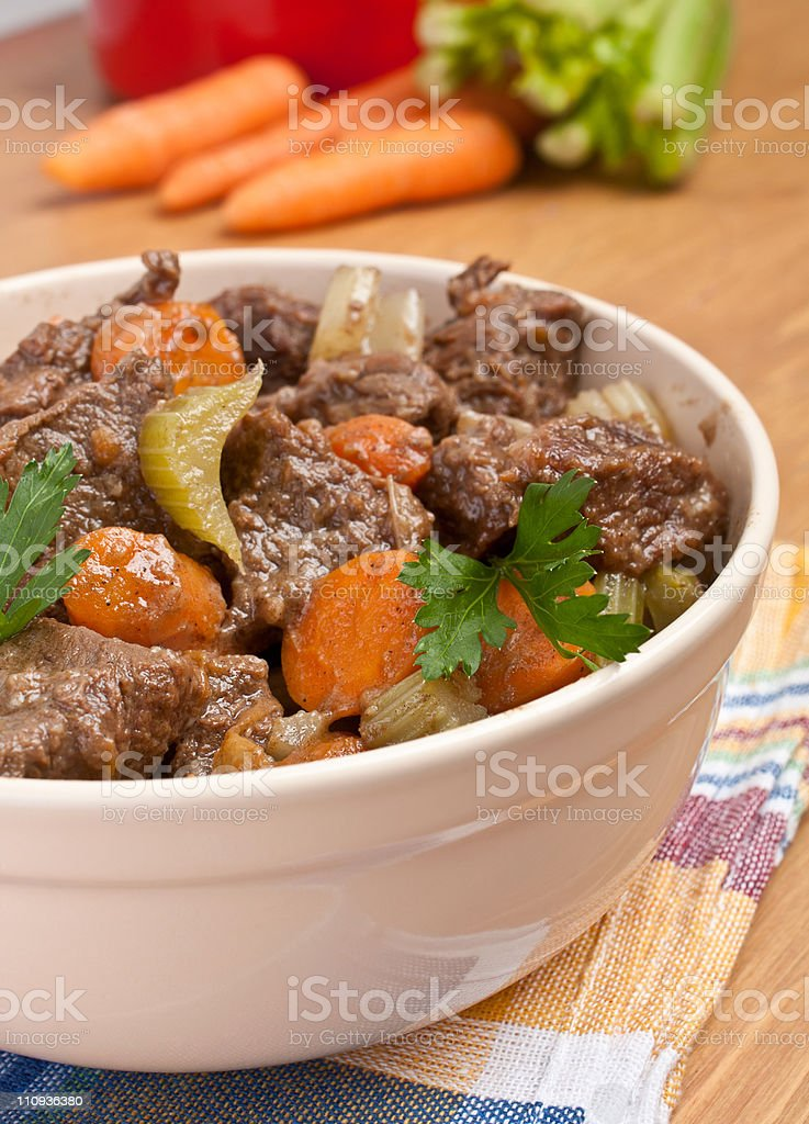 beef stew with celery and carrot royalty-free stock photo
