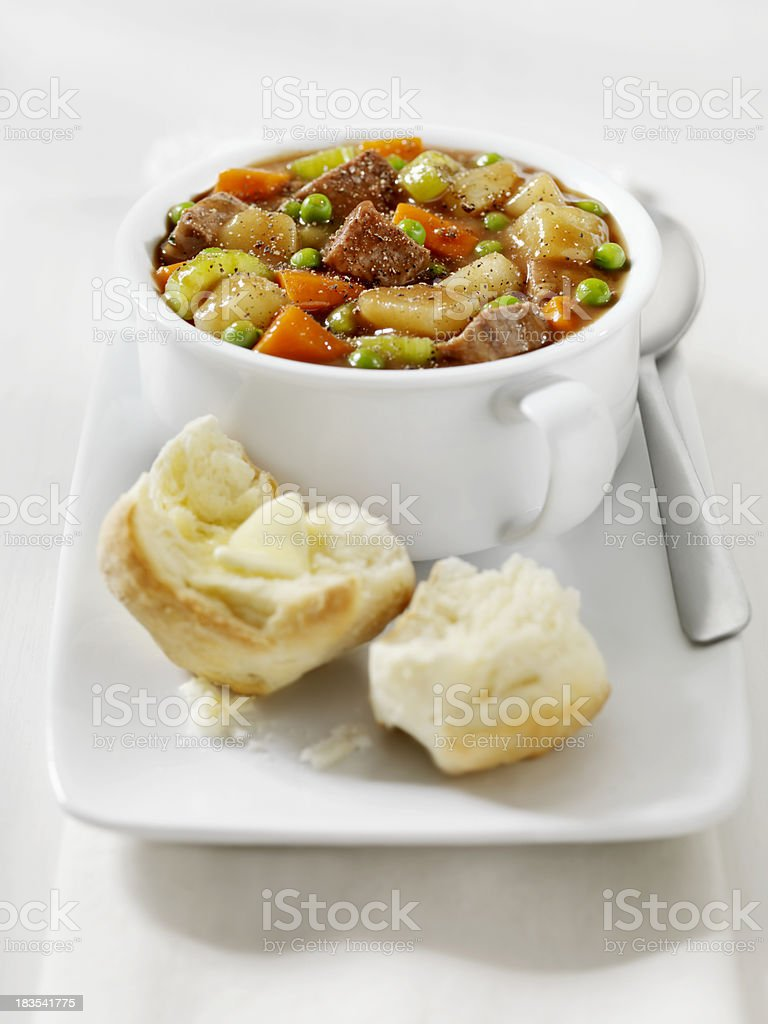Beef Stew with Freshly Baked Biscuits royalty-free stock photo