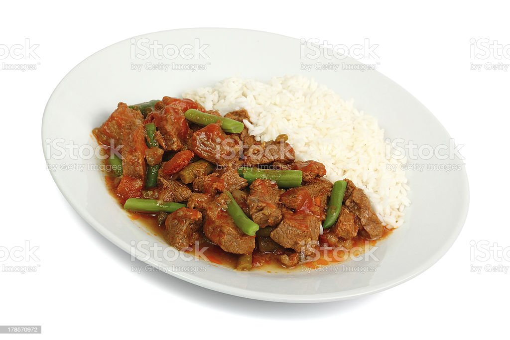 Beef Stew with Green Beans and Rice royalty-free stock photo