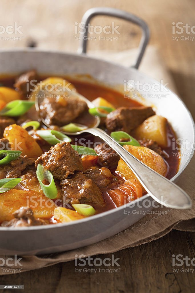beef stew with potato and carrot stock photo