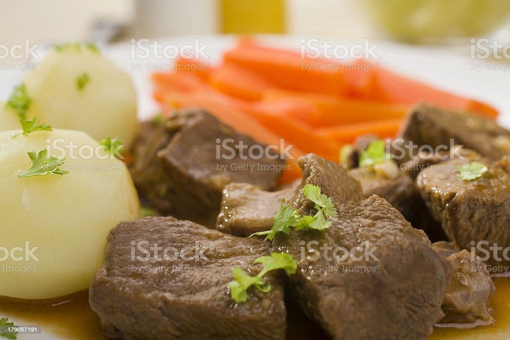 Beef Stew with Potatoes and Carrots Close Up stock photo