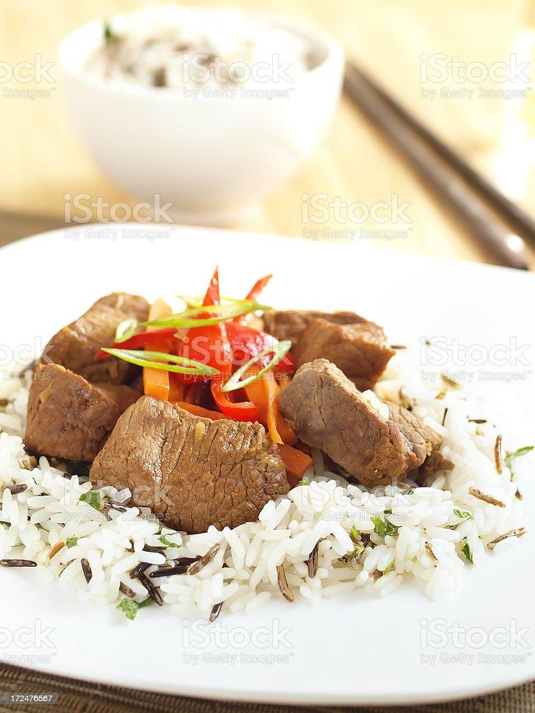 Beef stir-fried royalty-free stock photo