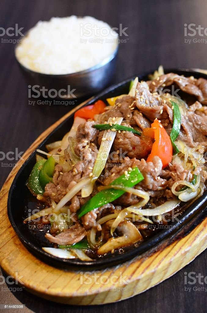 Beef Stir-fry and steamed rice stock photo